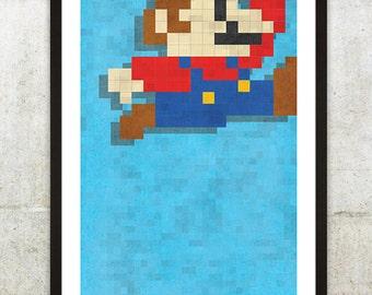 "Retro NES Mario inspired print 11X17"""