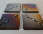 Barbed wire art glass tile coasters dichroic glass