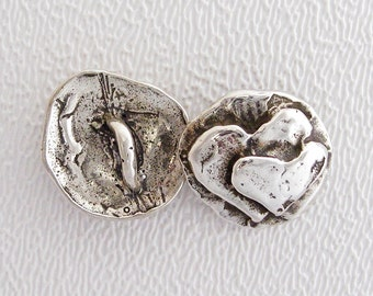 ONE Sterling Silver Button - INSEPARABLE HEARTS