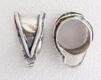 ONE Large Lined Bail in Sterling Silver