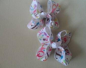 ABC Alphabet Piglet Hair Bows Set of Two