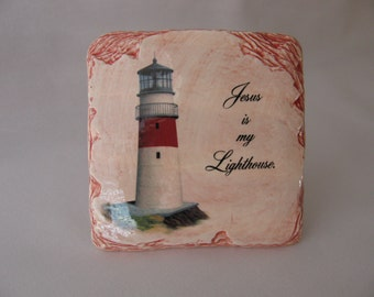 Jesus is My Lighthouse quote, with Lighthouse design on Slate Look Ceramic Plaque Tile