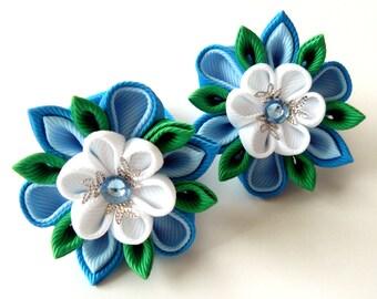 Kanzashi fabric flowers. Set of 2 ponytails . Blue, white and emerald.