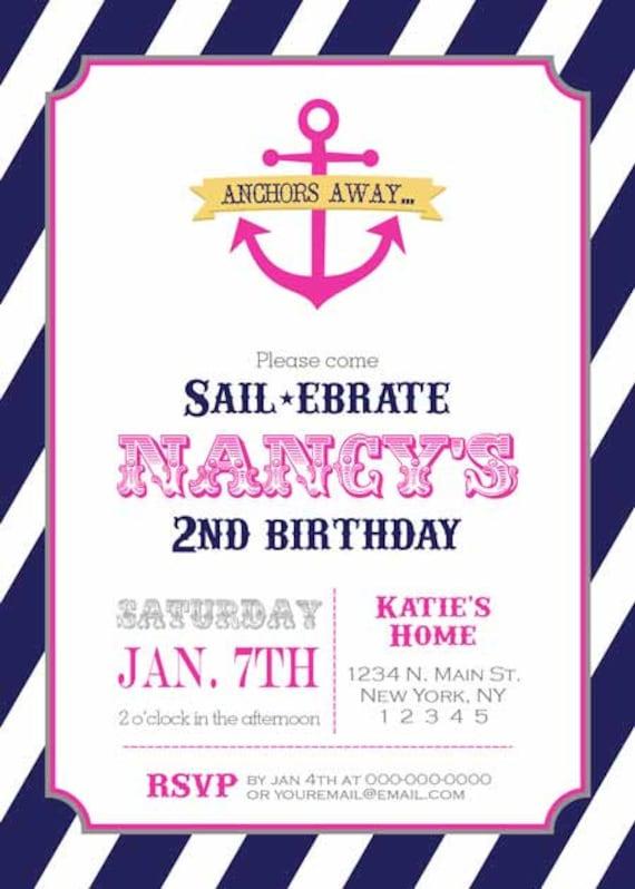Items Similar To Birthday Party Invitation Nautical