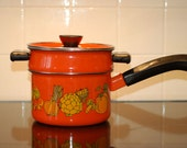 1970s Retro Mod Kitchen Orange Double Boiler Pot Pan with Vegetables, Merry Mushrooms