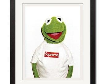 Supreme x Kermit Photo By Terry Richardson Urban Street Poster Print