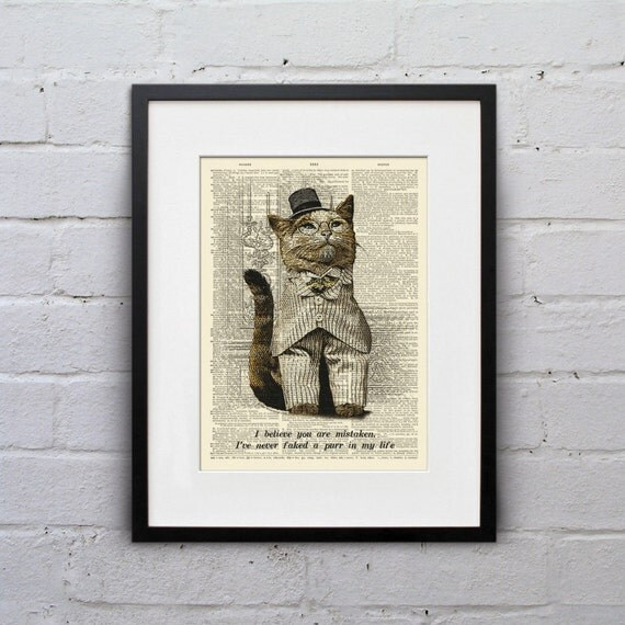 I've Never Faked A Purr - Victorian Cat Dictionary Page Book Art Print - DPLJ009
