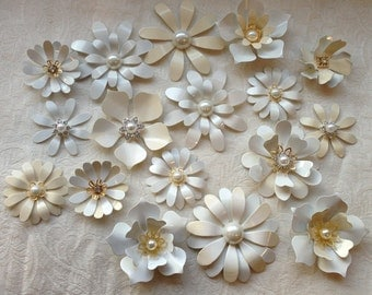 Enamel Flower  Brooch Lot of 17 Handmade Metal  in Ivory White and Gold with Pearls and Rhinestones