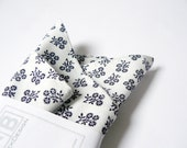 Pocket Handkerchief by BartekDesign: white navy blue flowers wedding grooms chic pocket square - BartekDesign
