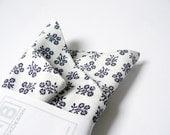 Pocket Handkerchief by BartekDesign: white navy blue flowers wedding grooms chic pocket square