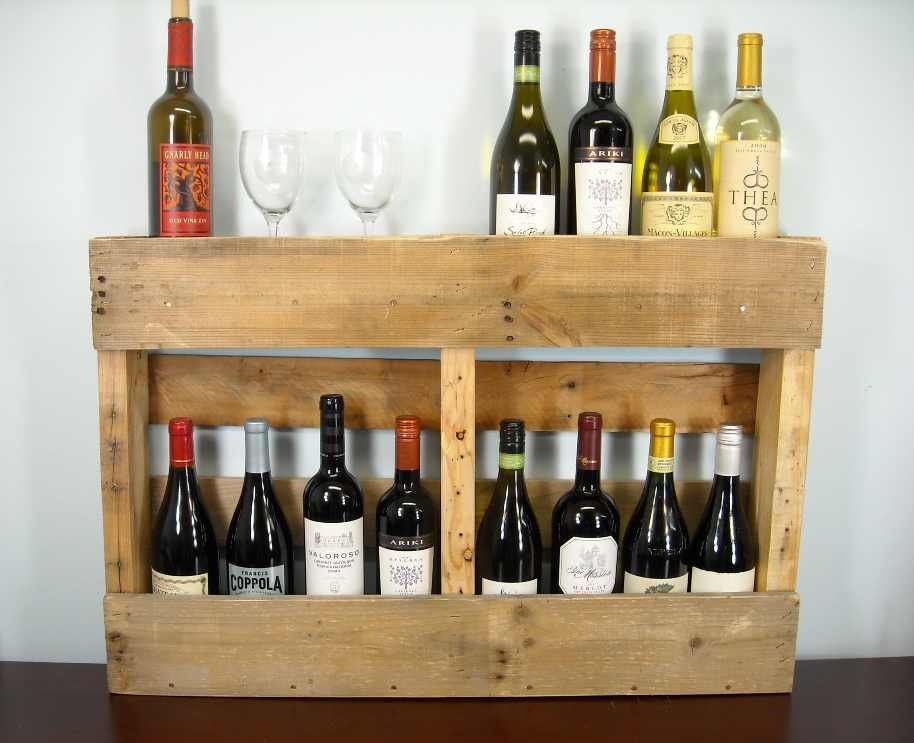 Pallet wine rack rustic wine shelf book shelf by for Pallet wine cabinet