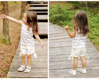 Girls summer shorts T7 white linen beach birthday baby toddler comfy