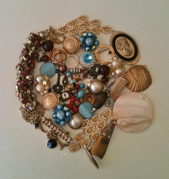 vintage junk jewelry lot rhinestone earrings by velvetsoup