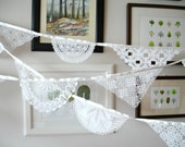 ECo Wedding Garland Decoration , Doily Bunting,  Spring Wedding , Ecofriendly Banner , Handmade With Handcrocheted Vintage Doilies and Lace
