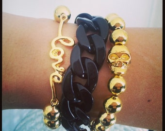 BLACK- Chunky Large Chain Link Bracelet - Accents