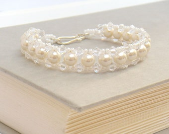 Pearl Bracelet, Pearl Bridal Bracelet, White Pearl Bracelet, Bridal Jewelry, Wedding Bracelet, Crystal Beaded Bracelet - Elizabeta