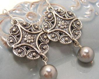 Silver Earrings, Bridal Earrings, Pearl Earrings, Ornate Bridal Earrings, Bridal Jewelry, Art Nouveau, Filigree Earrings - Borghese Garden