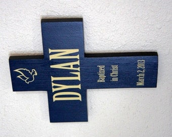 Baptized in Christ Personalized Wood Cross shown Navy & Ivory great baptism gift for boy or girl - birthday gift name and date