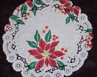 6 inch poinsettia print doilies,20/pkg,Christmas,cardmaking,decoupage,scrapbooking,collage,kids crafts,tablewear