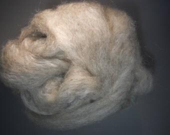 gray CVM wool blended roving , black alpaca, silk, silver mohair, bamboo