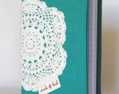 notebook: emerald green A6 journal with crocheted lace doily
