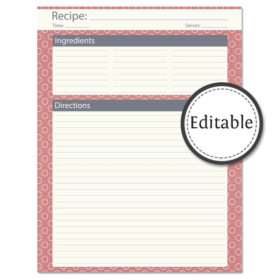 Recipe card full page fillable instant download for Free editable recipe card templates for microsoft word