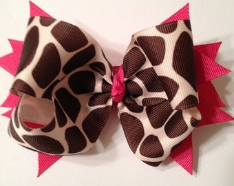 Giraffe and hot pink boutique hairbow