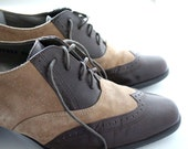 Vintage Brown Women's Oxfords with Heel Size 8