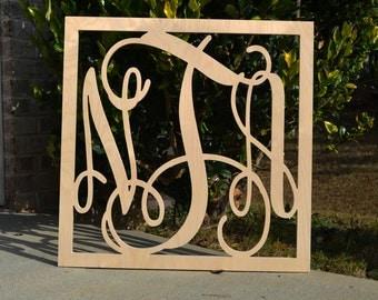 Wooden Monogram - Unfinished Vine Script Monogram in Square Border - Monogram Wedding Guest Book - Monogram Home Decor