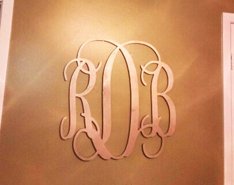24 inch Vine connected monogram letter, Wooden wall letter, wedding, PAINTED