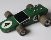 Vintage designer wooden racing car, Carpenter Car, sold though the Design Centre London