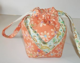 Lady Bug, Flowers and Paisley Drawstring Purse