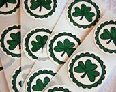 Shamrock Stickers -St. Patrick's Day/ Irish Stickers/ Envelope Seals -Set of 12 (Green Clovers/ Good Luck Stickers)