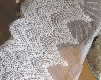 off White Embroidered Lace Trim, tulle lace trim, mesh lace trimming