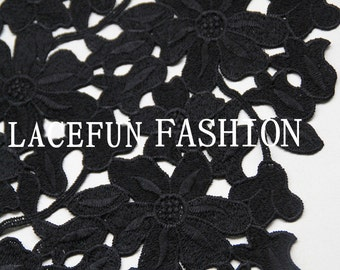 black lace fabric, hollowed out flowers lace fabric