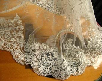 alencon lace trim, bridal lace trim. ivory veil trim lace CG006B