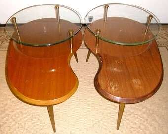 Mid Century Kidney Tables Mid Century Table Danish End Tables Vintage Mid Century Coffee