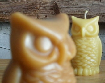 Owl Candle or Figurine, All Natural Beeswax or Cinnamon Beeswax: hoot hoot & golly gee, that's the owl for me!