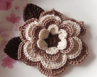 Crochet Flower (3 inches) With Leaves  YH-123-01