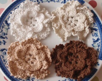 4 Crochet Flowers In Off white, Cream, Tan, Brown  YH-127-05