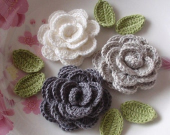 3 Crochet  Roses With Leaves YH - 138-14