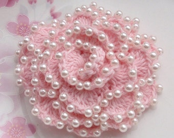 Crochet Flower With Pearls in 3 inches YH-010-03