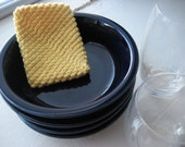 Washable Crocheted Cotton Dish Scrubbie / Dish Sponge - Soft Yellow