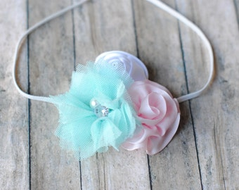 Aqua Tulle Flower White Rolled Flower and Pink Flower Headband Photography Prop Headband Pearl Rhinestone Center