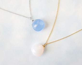 Simple Necklace, Everyday Necklace. Blue Opal. Pink Opal.