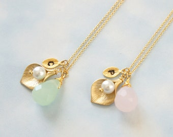 Cala Lily Flower Necklace. Pink Opal & Green Opal Necklace. Personalized Initial Necklace. Bridesmaid Gift. Mom and Grandmom Gift.