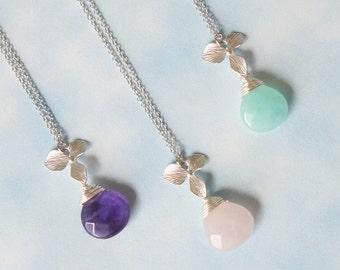 Birthstone Necklace. Flower Necklace.Bridesmaid Gift. Everyday Necklace. Under 20