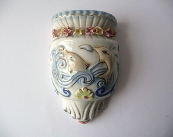 Flower Vase Wall Hang Vintage Porcelain with Dolphins