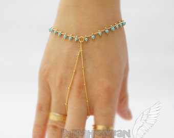 Blue Seed Beads Simple Satellite Chain, Gladiators Bracelet Hand Bracelet Finger Bracelet Slave Bracelet