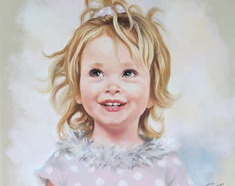 Handmade Pastel portrait of a young girl